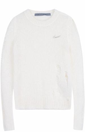 Пуловер фактурной вязки с круглым вырезом Raquel Allegra. Цвет: белый