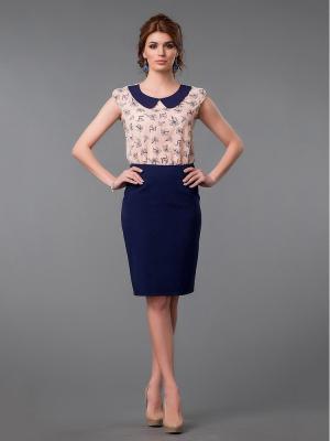 Блузка Be cara. Цвет: синий,персиковый
