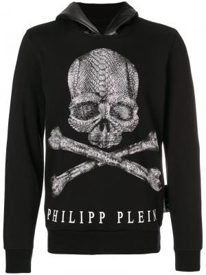 Толстовка с капюшоном и принтом Philipp Plein. Цвет: чёрный