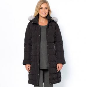 Куртка стеганая, обработка Teflon ANNE WEYBURN. Цвет: серо-бежевый,черный