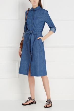 Платье из денима Chapurin. Цвет: синий