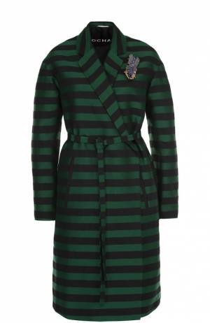 Пальто в полоску с поясом и декоративной брошью Rochas. Цвет: зеленый