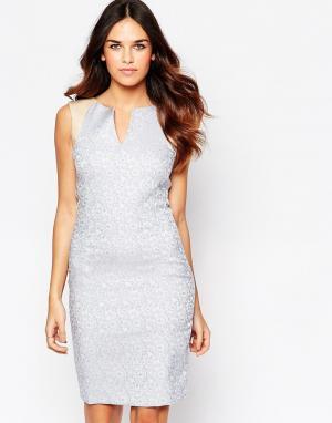 Hybrid Жаккардовое платье с отделкой искусственной кожей Kirsty. Цвет: синий