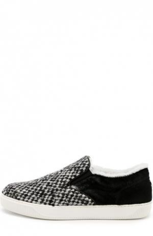 Текстильные слипоны с отделкой мехом Moncler. Цвет: черно-белый