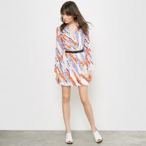 Платье плиссированное с рисунком Carven x La Redoute. Цвет: цветочный рисунок
