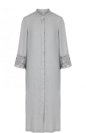 Льняное платье-миди с укороченным рукавом 120% Lino. Цвет: серый