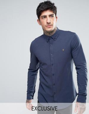 Farah Темно-синяя трикотажная рубашка из пике. Цвет: темно-синий