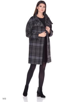 Пальто GallaLady. Цвет: хаки, серый
