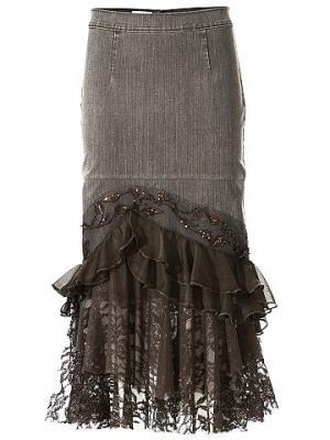 Джинсовая юбка LINEA TESINI. Цвет: серо-коричневый
