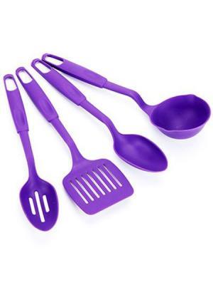 Набор кухонных принадлежностей 4 пр., пластик, фиолетовый, арт С1001 Vetta. Цвет: фиолетовый