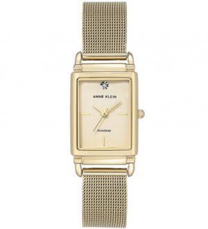 Золотистые часы прямоугольной формы Anne Klein