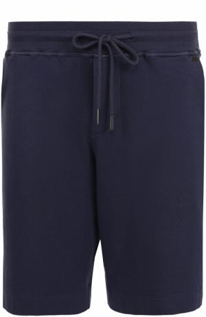 Хлопковые домашние шорты с поясом на кулиске Hanro. Цвет: темно-синий
