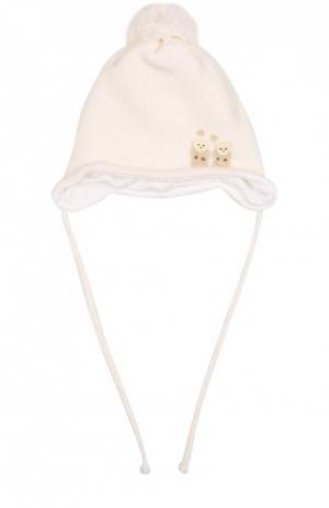 Шерстяная шапка с помпоном и аппликацией Il Trenino. Цвет: белый