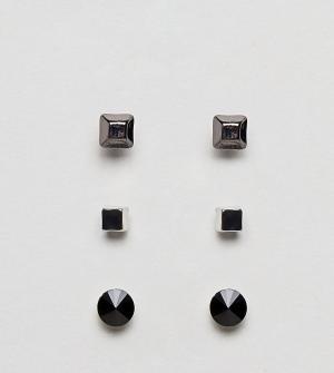 DesignB London Набор из 3 пар серег-гвоздиков эксклюзивно для ASOS. Цвет: серебряный