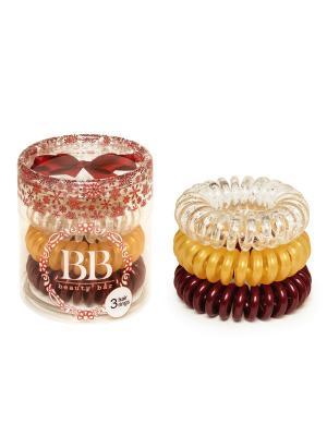 Резинка-спиралька для волос набор Новогодний Beauty Bar. Цвет: золотистый