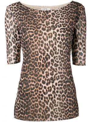 Топ с леопардовым принтом Peirce Ganni. Цвет: коричневый