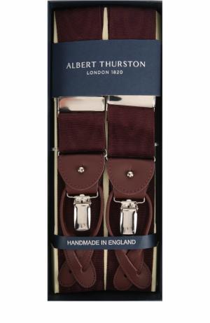Подтяжки с отделкой из натуральной кожи Albert Thurston. Цвет: бордовый