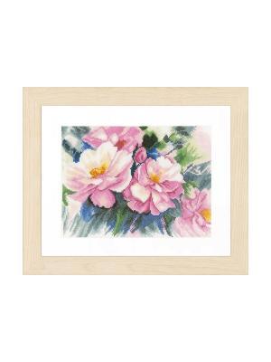 Набор для вышивания Mooie rozen telstof /Прекрасные розы/ 26*19см Vervaco. Цвет: розовый, желтый, зеленый, серый