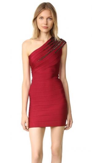 Платье Brianne с открытым плечом Herve Leger. Цвет: красный