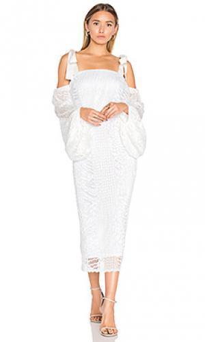 Миди платье с драпированными рукавами pulitzer Rebecca Vallance. Цвет: белый