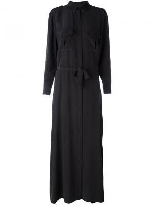 Длинное платье-рубашка Equipment. Цвет: чёрный