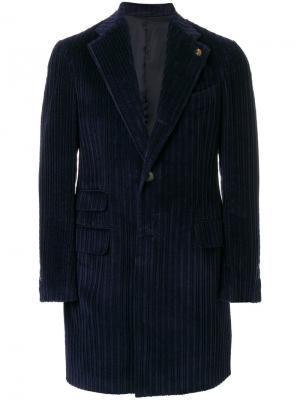 Однобортное пальто Gabriele Pasini. Цвет: синий