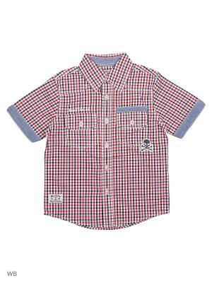 Рубашка E-bound. Цвет: темно-синий, белый, красный