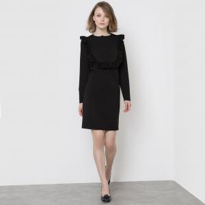 Платье из трикотажа с манишкой и воланом спереди MADEMOISELLE R. Цвет: черный