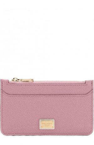 Кожаный футляр для кредитных карт с отделением на молнии Dolce & Gabbana. Цвет: розовый