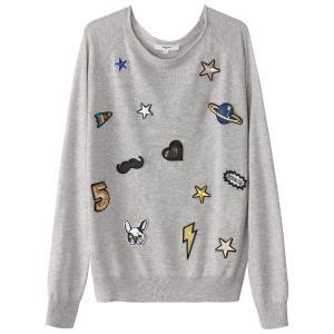 Пуловер из тонкого трикотажа с круглым вырезом и вышивкой на нашивках SUNCOO. Цвет: серый меланж