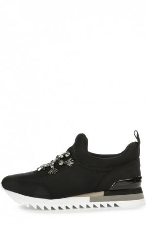Текстильные кроссовки с декором Tory Burch. Цвет: черный