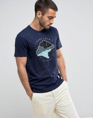 Penfield Темно-синяя футболка классического кроя с логотипом Bear Drea. Цвет: темно-синий