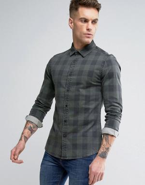 ASOS Приталенная джинсовая рубашка в клетку. Цвет: зеленый