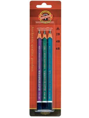 Набор чернографитных толстых, трехгранных карандашей Triograf (3 штуки) Koh-i-Noor. Цвет: серый