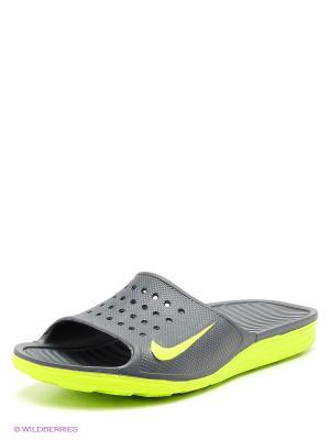 Шлепанцы SOLARSOFT SLIDE Nike. Цвет: темно-серый, салатовый