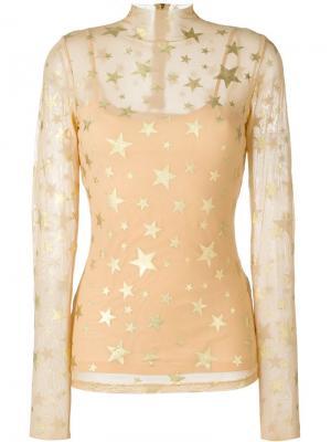Блузка с принтом звезд Manish Arora. Цвет: телесный