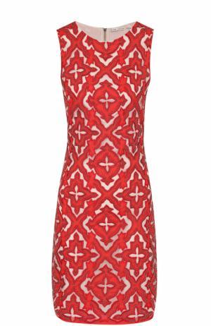 Мини-платье без рукавов с контрастной отделкой Alice + Olivia. Цвет: красный