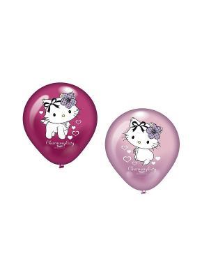 9 шариков с рисунком Hello Kitty c сердечками  Everts. Цвет: розовый