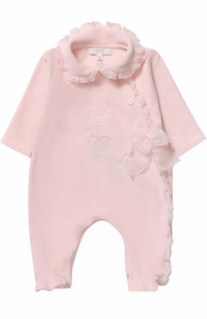 Хлопковая пижама с оборками и бантом Aletta. Цвет: розовый