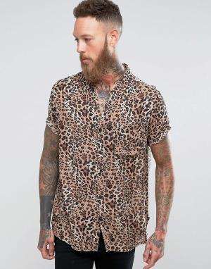 Rollas Рубашка с анималистичным принтом. Цвет: коричневый