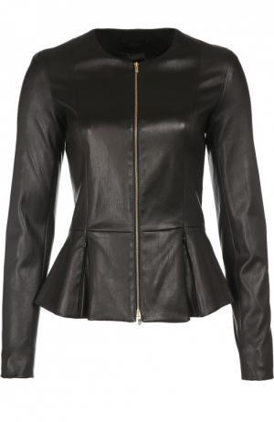 Приталенная кожаная куртка с баской The Row. Цвет: черный