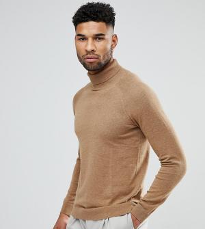 Selected Homme Джемпер с добавлением шелка и отворачивающимся воротником Hom. Цвет: коричневый