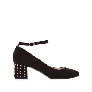 Балетки на каблуке с заклепками MADEMOISELLE R. Цвет: черный
