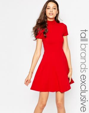 Taller Than Your Average Короткое приталенное платье с высокой горловиной TTYA. Цвет: красный