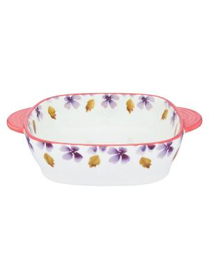 Блюдо для запекания и сервировки стола Лавандовое настроение Elan Gallery. Цвет: белый, розовый, сиреневый