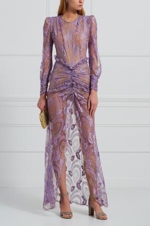 Кружевное платье Alessandra Rich. Цвет: лиловый