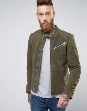 Goosecraft Зеленая замшевая байкерская куртка со строчкой на плечах. Цвет: зеленый