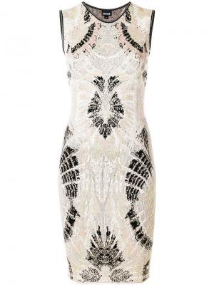 Платье с симметричным принтом Just Cavalli. Цвет: телесный