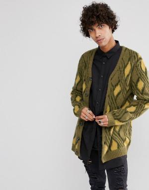 ASOS Кардиган в винтажном стиле из мохеровой смеси. Цвет: зеленый