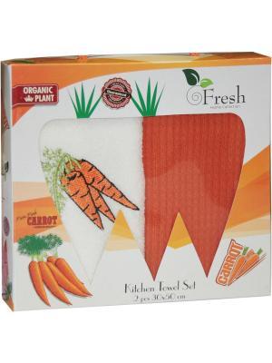 Кухонные полотенца в подарочной коробке ЛЮКС  2 шт., 30х50 см, 100% хлопок Dorothy's Нome. Цвет: оранжевый, кремовый